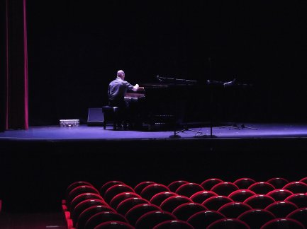 Martin tuning a Blüthner Concert Grand Piano at The Regent Centre, Christchurch