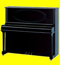 Blüthner model B concert upright piano in ebony polished finish